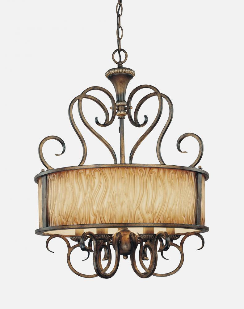 Six light brown drum shade chandelier 966 243 lowe lighting center six light brown drum shade chandelier mozeypictures Image collections