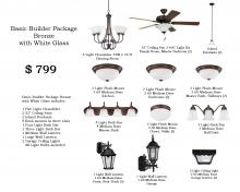 Lowe Lighting Center Items LLC-B1-BB-W - Basic Builder Package Bronze with White Glass