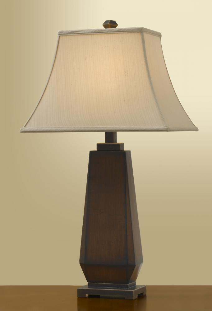 One Light Mahogany/gilded Bronze Rect. Faux Silk (ash) Shade Table Lamp